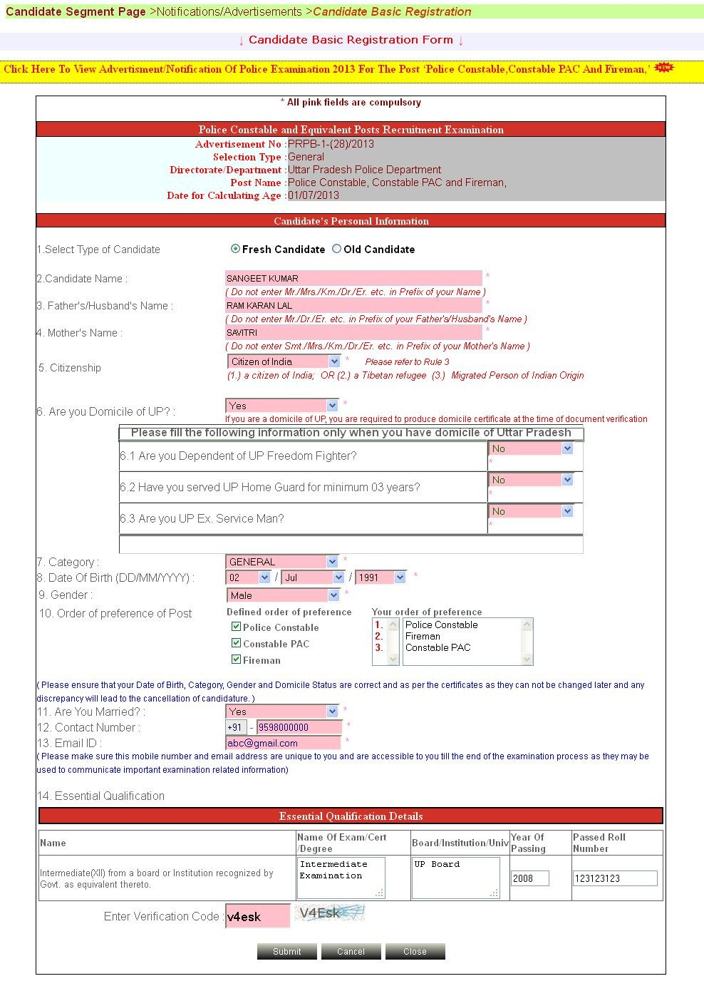 Sample Of Registration Process Constable Male Female At Up